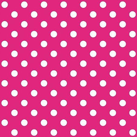 Tecido Tricoline Poá Médio Peri Pink, 100%Alg, 50cm x 1,50mt