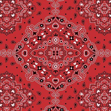 Tecido Tricoline Bandana Vermelho, 100%Alg, 50cm x 1,50mt