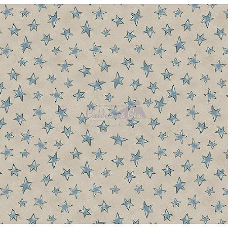 Tricoline Estampado Estrelinhas - Cor-10 (Bege com Jeans), 100% Algodão, Unid. 50cm x 1,50mt