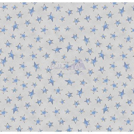 Tricoline Estampado Estrelinhas - Cor-09 (Cinza com Azul), 100% Algodão, Unid. 50cm x 1,50mt