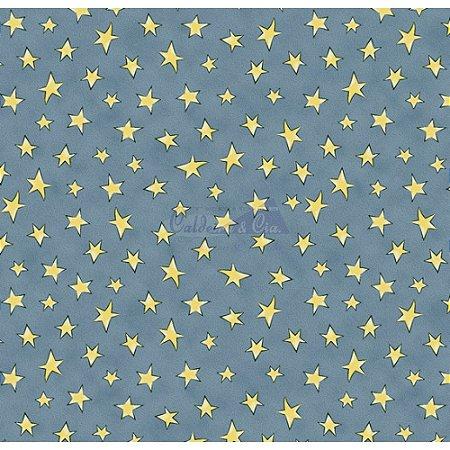 Tricoline Estampado Estrelinhas - Cor-07 (Jeans com Amarelo), 100% Algodão, Unid. 50cm x 1,50mt