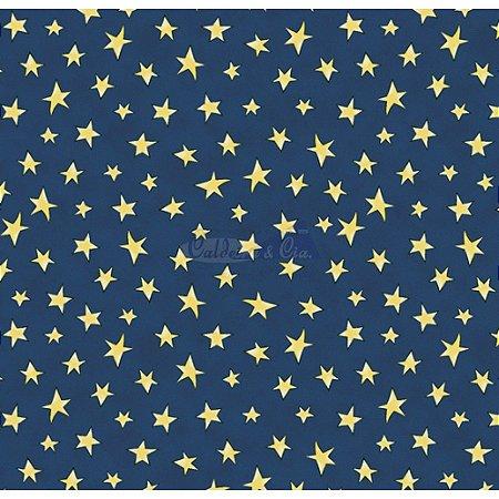 Tricoline Estampado Estrelinhas - Cor-06 (Marinho com Amarelo), 100% Algodão, Unid. 50cm x 1,50mt