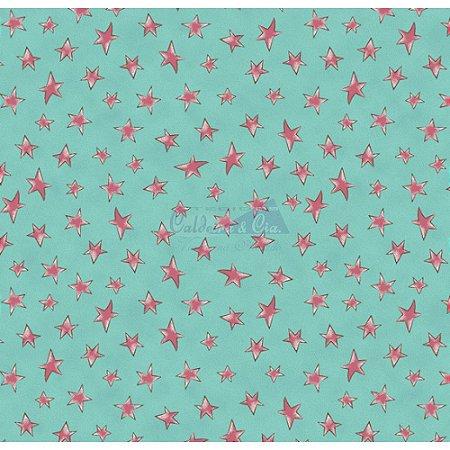 Tricoline Estampado Estrelinhas - Cor-05 (Tiffany com Rosa), 100% Algodão, Unid. 50cm x 1,50mt