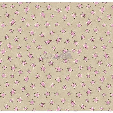 Tricoline Estampado Estrelinhas - Cor-04 (Bege com Rosa), 100% Algodão, Unid. 50cm x 1,50mt