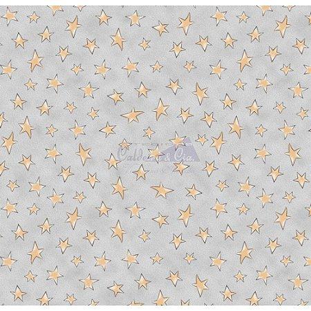 Tricoline Estampado Estrelinhas - Cor-02 (Cinza com Amarelo), 100% Algodão, Unid. 50cm x 1,50mt