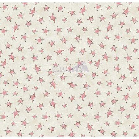 Tricoline Estampado Estrelinhas - Cor-01 (Creme com Rosa), 100% Algodão, Unid. 50cm x 1,50mt
