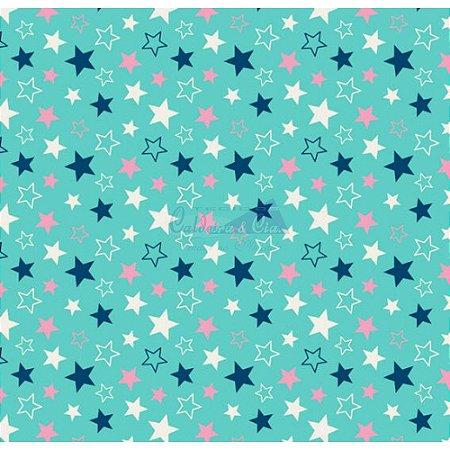 Tricoline Estrelas Star - Cor-17 (Tiffany), 100% Algodão, Unid. 50cm x 1,50mt