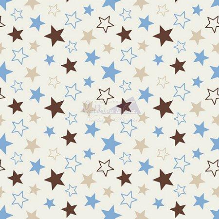 Tricoline Estrelas Star - Cor-11 (Bege com Azul), 100% Algodão, Unid. 50cm x 1,50mt