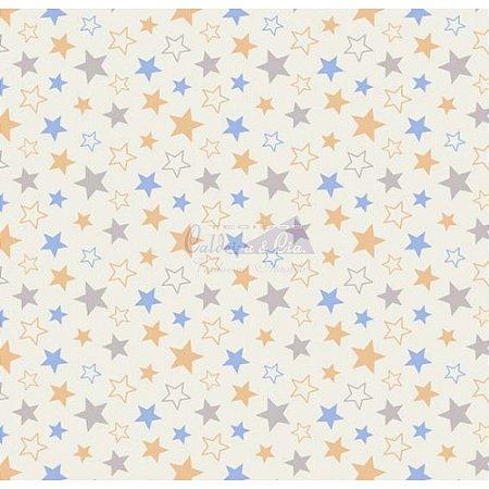Tricoline Estrelas Star - Cor-10 (Azul com Amarelo), 100% Algodão, Unid. 50cm x 1,50mt