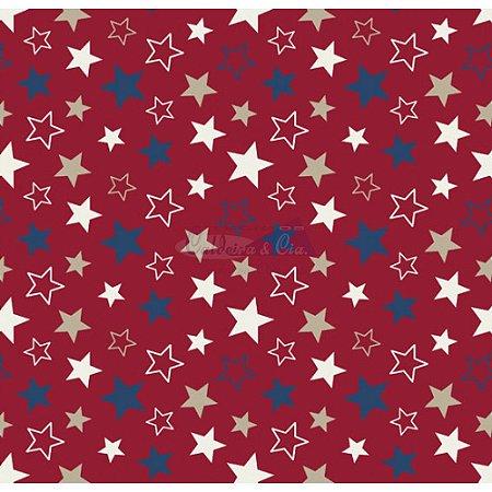 Tricoline Estrelas Star - Cor-08 (Vermelho), 100% Algodão, Unid. 50cm x 1,50mt