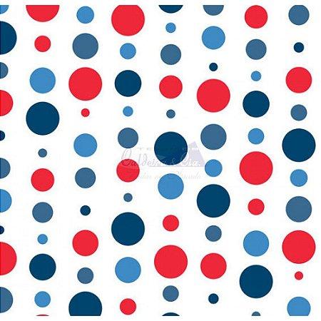Tricoline Estampado Bolas - Cor-17 (Vermelho com Marinho), 100% Algodão, Unid. 50cm x 1,50mt