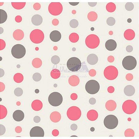 Tricoline Estampado Bolas - Cor-18 (Cinza com Rosé), 100% Algodão, Unid. 50cm x 1,50mt