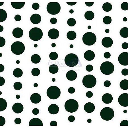 Tricoline Estampado Bolas - Cor-15 (Branco com Preto), 100% Algodão, Unid. 50cm x 1,50mt
