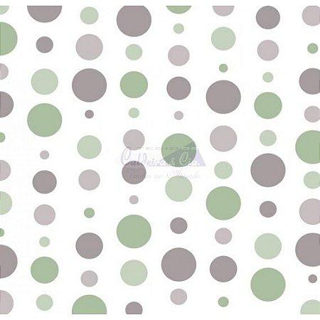 Tricoline Estampado Bolas - Cor-13 (Verde com Cinza), 100% Algodão, Unid. 50cm x 1,50mt