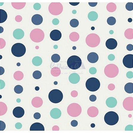 Tricoline Estampado Bolas - Cor-09 (Tiffany, Marinho e Rosa), 100% Algodão, Unid. 50cm x 1,50mt