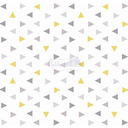 Tricoline Estampado Triângulos Vitória - Cor-04 (Amarelo com Cinza), 100% Algodão, Unid. 50cm x 1,50mt