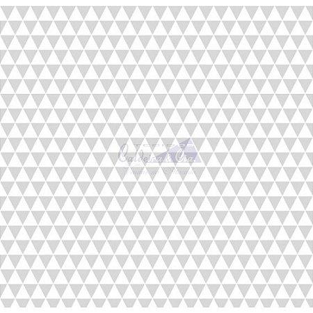 Tricoline Estampado Triângulos Ternura - Cor-02 (Cinza), 100% Algodão, Unid. 50cm x 1,50mt