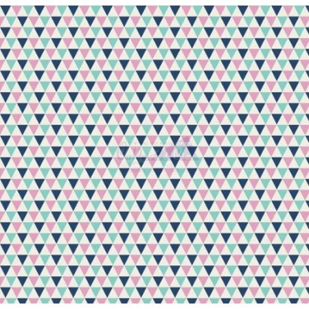 Tricoline Estampado Triângulos Yole - Cor-09 (Marinho, Tiffany e Rosa), 100% Algodão, Unid. 50cm x 1,50mt