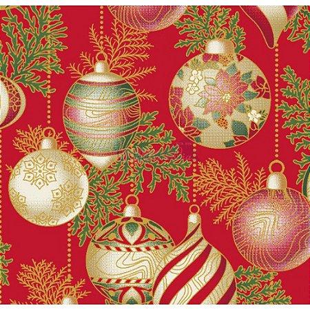 Tricoline Estampado Natal Bolas (Vermelho), 100% Algodão, Unid. 50cm x 1,50mt