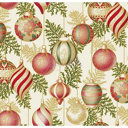 Tricoline Estampado Natal Bolas (Bege), 100% Algodão, Unid. 50cm x 1,50mt