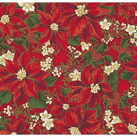 Tricoline Estampado Natal Floral 01 (Vermelho), 100% Algodão, Unid. 50cm x 1,50mt