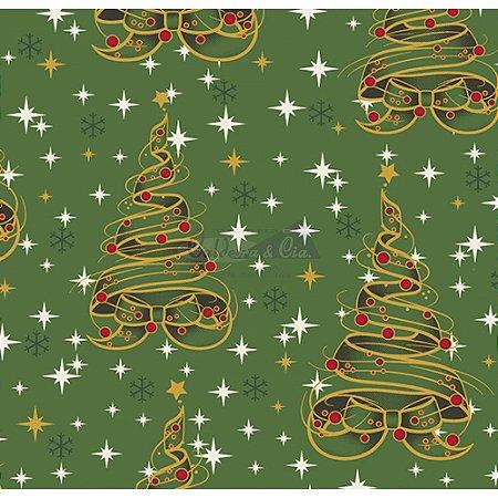 Tricoline Estampado Natal Árvore de Fitas (Verde), 100% Algodão, Unid. 50cm x 1,50mt