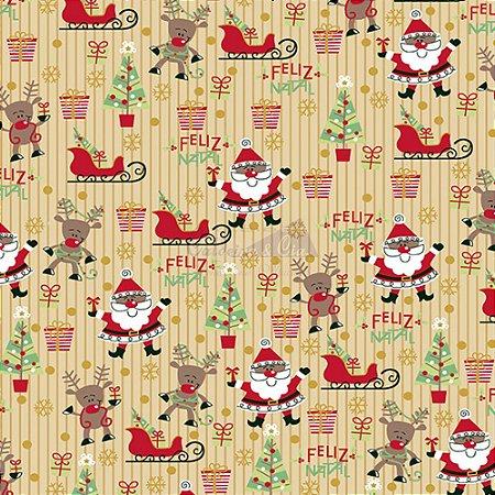 Tricoline Estampado Natal Papai Noel (Bege), 100% Algodão, Unid. 50cm x 1,50mt