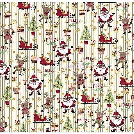 Tricoline Estampado Natal Papai Noel (Branco), 100% Algodão, Unid. 50cm x 1,50mt