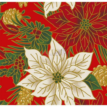 Tricoline Estampado Natal Floral 02 (Vermelho), 100% Algodão, Unid. 50cm x 1,50mt