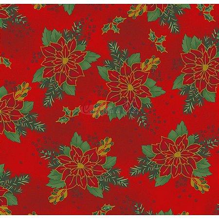 Tricoline Estampado Natal Floral 03 (Vermelho), 100% Algodão, Unid. 50cm x 1,50mt