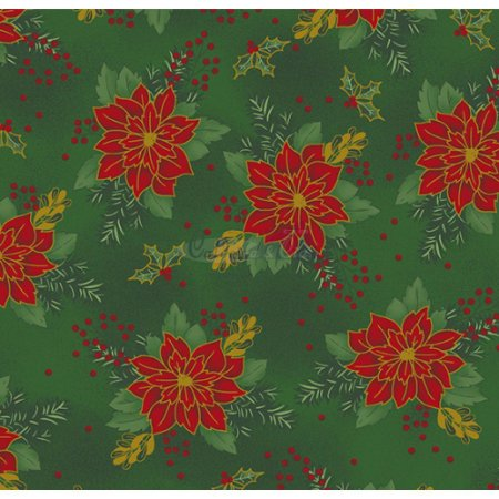 Tricoline Estampado Natal Floral 03 (Verde), 100% Algodão, Unid. 50cm x 1,50mt