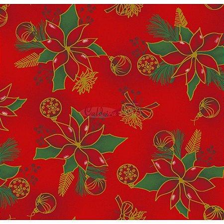 Tricoline Natal Floral com Bolas (Vermelho), 100% Algodão, Unid. 50cm x 1,50mt