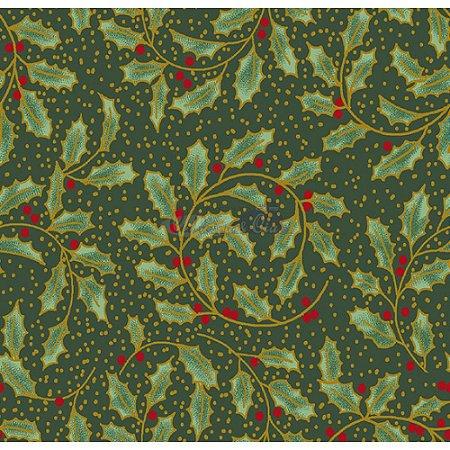 Tricoline Natal Ramos com Folhas (Verde), 100% Algodão, Unid. 50cm x 1,50mt