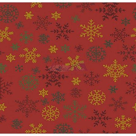 Tricoline Estampado Natal Flocos (Vermelho), 100% Algodão, Unid. 50cm x 1,50mt