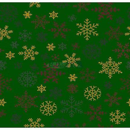 Tricoline Estampado Natal Flocos (Verde), 100% Algodão, Unid. 50cm x 1,50mt