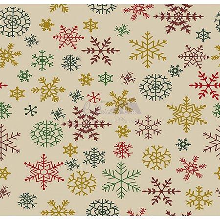 Tricoline Estampado Natal Flocos (Bege), 100% Algodão, Unid. 50cm x 1,50mt
