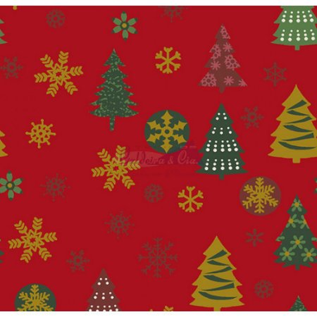 Tricoline  Arvore de Natal e Flocos (Vermelho), 100% Algodão, Unid. 50cm x 1,50mt
