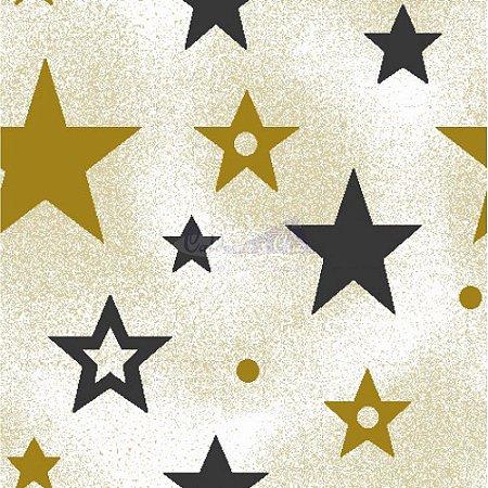 Tricoline Estampado Natal Estrelas (Bege), 100% Algodão, Unid. 50cm x 1,50mt
