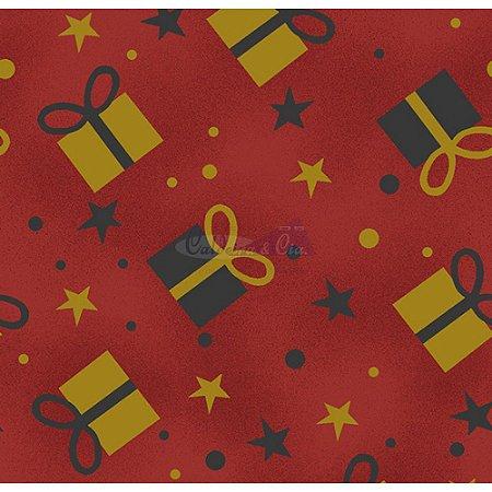 Tricoline Natal Caixas de Presente (Vermelho), 100% Algodão, Unid. 50cm x 1,50mt