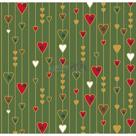 Tricoline Estampado Natal Corações (Verde), 100% Algodão, Unid. 50cm x 1,50mt