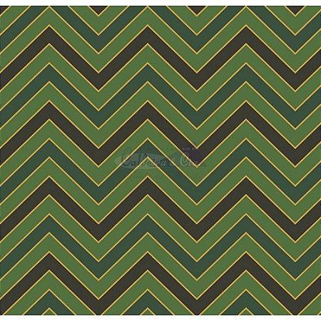 Tricoline Estampado Natal Chevron (Verde), 100% Algodão, Unid. 50cm x 1,50mt