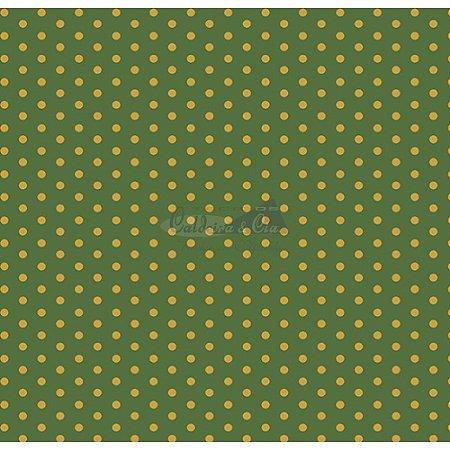 Tricoline Estampado Natal Poá (Verde), 100% Algodão, Unid. 50cm x 1,50mt