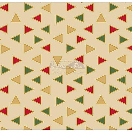 Tricoline Estampado Natal Triângulos (Bege), 100% Algodão, Unid. 50cm x 1,50mt