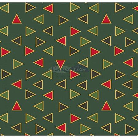 Tricoline Estampado Natal Triângulos (Verde), 100% Algodão, Unid. 50cm x 1,50mt