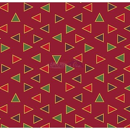 Tricoline Estampado Natal Triângulos (Vermelho), 100% Algodão, Unid. 50cm x 1,50mt