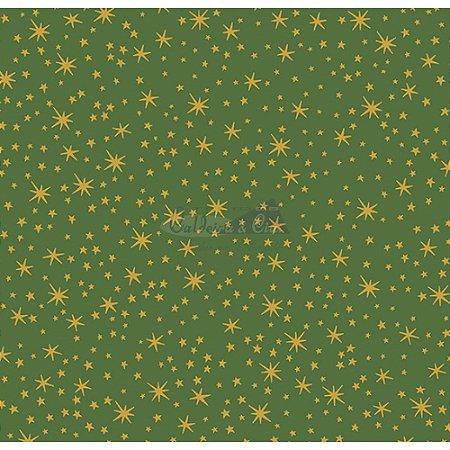 Tricoline Natal Mini Estrelinhas (Verde), 100% Algodão, Unid. 50cm x 1,50mt
