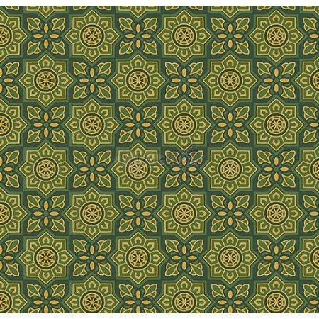 Tricoline Estampado Natal Mandalas (Verde), 100% Algodão, Unid. 50cm x 1,50mt