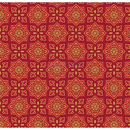 Tricoline Estampado Natal Mandalas (Vermelho), 100% Algodão, Unid. 50cm x 1,50mt