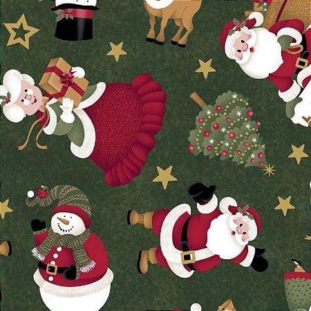Tricoline Natal Festa Natalina - 100% Algodão, 50cm x 1,50mt