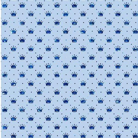 Tricoline Coroa Azul Fundo Azul, 100% Algodão, 50cm x 1,50mt